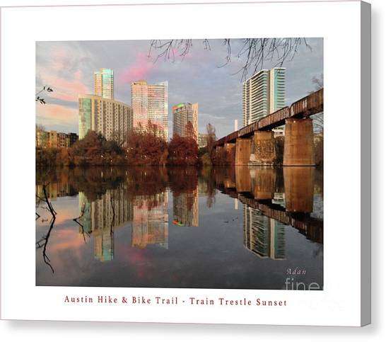 Austin Hike And Bike Trail - Train Trestle 1 Sunset Left Greeting Card Poster - Over Lady Bird Lake Canvas Print
