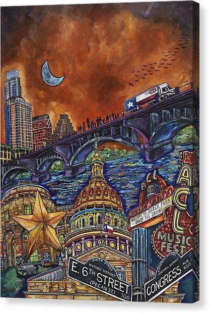 The University Of Texas Canvas Print - Austin Montage by Patti Schermerhorn