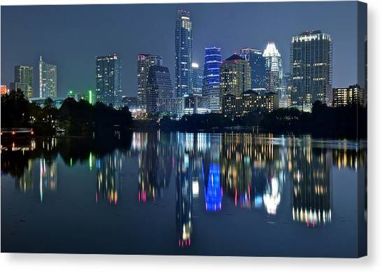 Austin Night Reflection Canvas Print