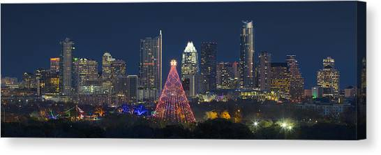 Austin Texas Canvas Print - Austin Panorama Of The Trail Of Lights And Skyline by Rob Greebon