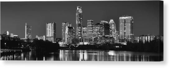 Austin Texas Canvas Print - Austin Skyline At Night Black And White Bw Panorama Texas by Jon Holiday