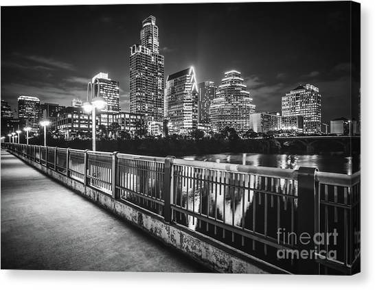 Austin Texas Canvas Print - Austin Skyline At Night Black And White Picture by Paul Velgos