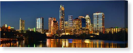 Austin Texas Canvas Print - Austin Skyline At Night Color Panorama Texas by Jon Holiday