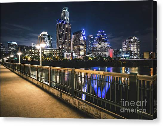 Austin Skyline At Night In Austin Texas Canvas Print by Paul Velgos