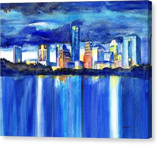 Austin Skyline Canvas Print - Austin Skyline At Sunset by Carlin Blahnik CarlinArtWatercolor