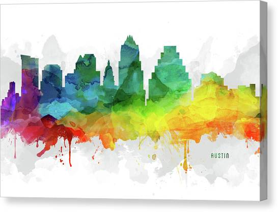Austin Skyline Canvas Print - Austin Skyline Mmr-ustxau05 by Aged Pixel