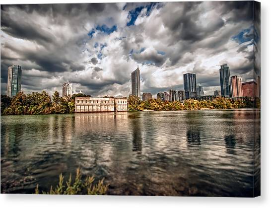 Austin Skyline On Lady Bird Lake Canvas Print