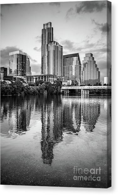 Austin Skyline Reflection In Black And White  Canvas Print by Paul Velgos
