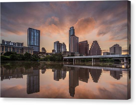 Austin Skyline Sunrise Reflection Canvas Print