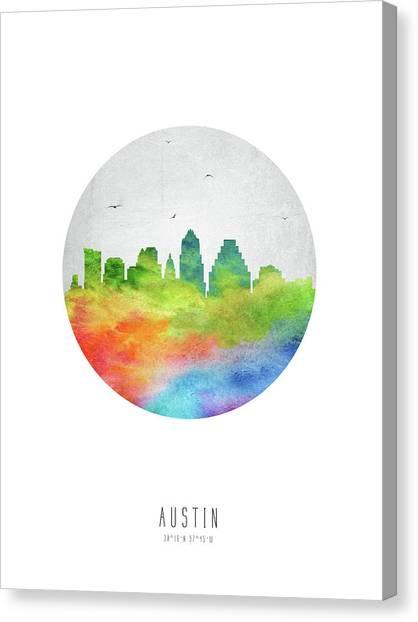 Austin Skyline Canvas Print - Austin Skyline Ustxau20 by Aged Pixel