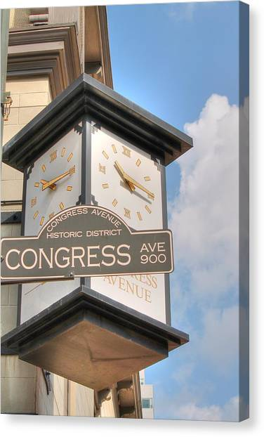 Austin Street Sign And Clock Canvas Print
