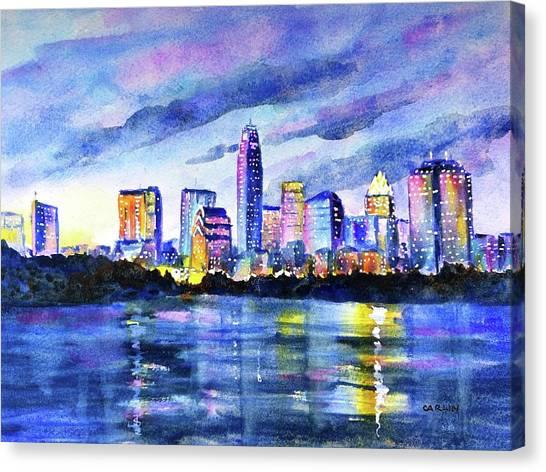 Austin Skyline Canvas Print - Austin Texas Colorful Skyline Sunset by Carlin Blahnik CarlinArtWatercolor