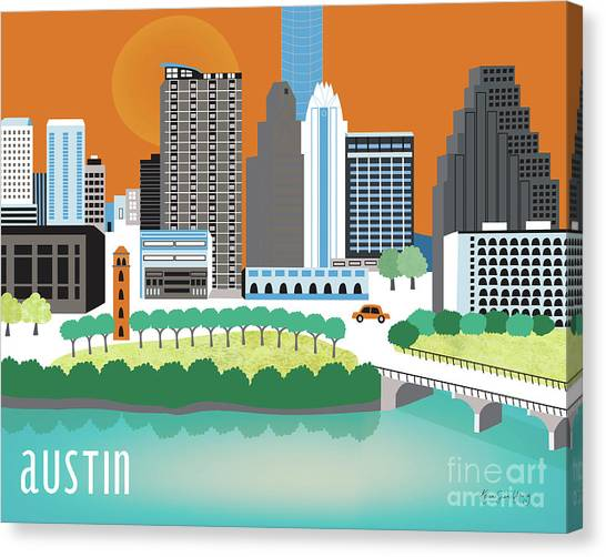 Mississippi River Canvas Print - Austin Texas Horizontal Skyline by Karen Young
