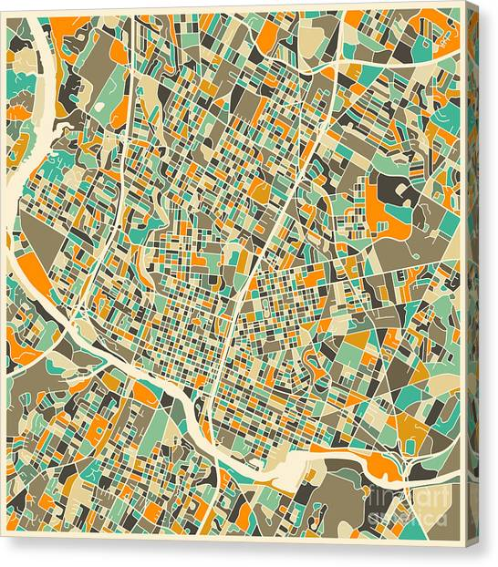 Austin Canvas Print - Austin Map by Jazzberry Blue