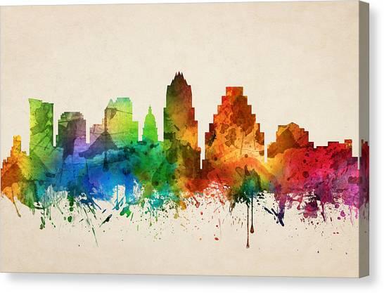 Austin Skyline Canvas Print - Austin Texas Skyline 05 by Aged Pixel