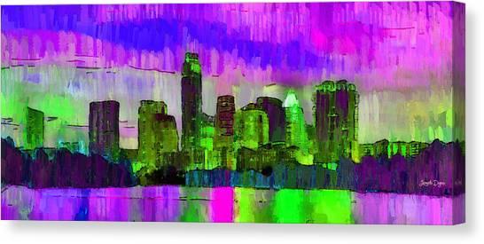 Metropolitan Canvas Print - Austin Texas Skyline 205 - Pa by Leonardo Digenio