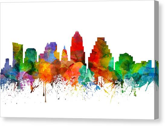 Austin Skyline Canvas Print - Austin Texas Skyline 21 by Aged Pixel