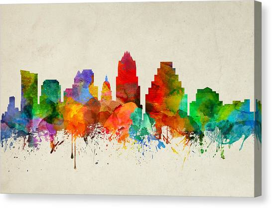 Austin Skyline Canvas Print - Austin Texas Skyline 22 by Aged Pixel