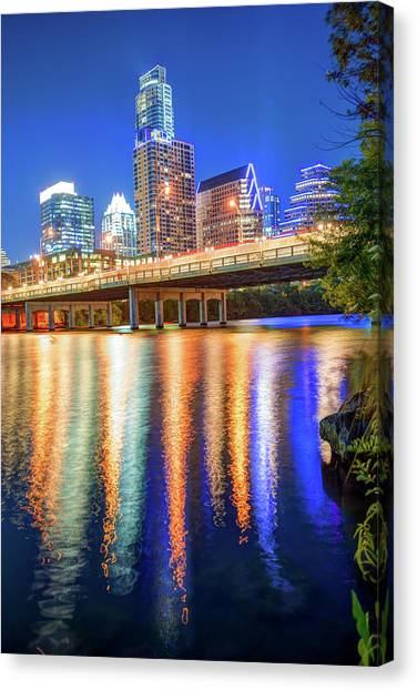 Austin Texas Canvas Print - Austin Texas Skyline Night Reflections by Gregory Ballos