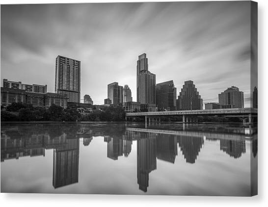 Canvas Print featuring the photograph Austin Texas Skyline Reflecting In Ladybird Lake Long Exposure by Todd Aaron