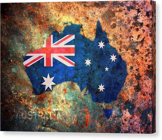 Flags Canvas Print - Australia Flag Map by Michael Tompsett