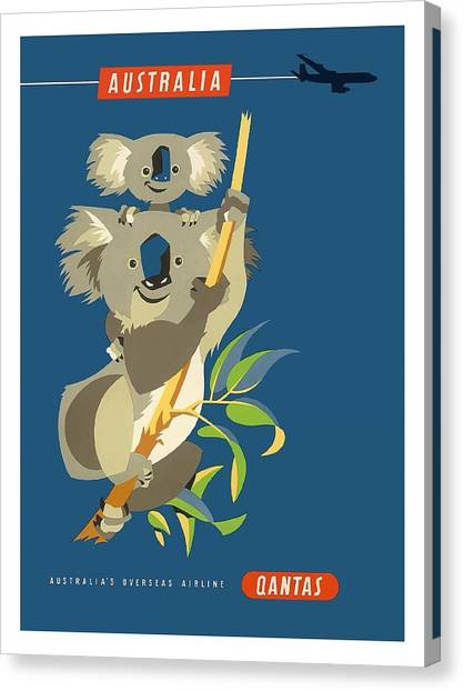 Koala Canvas Print - Australia Koala Bears Qantas Empire Airways Vintage Travel Poster by Retro Graphics