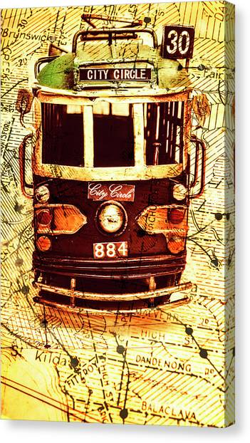 Carts Canvas Print - Australia Travel Tram Map by Jorgo Photography - Wall Art Gallery