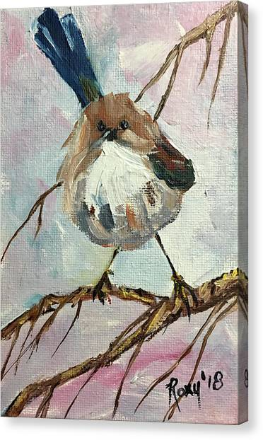 Wrens Canvas Print - Australian Blue Wren by Roxy Rich