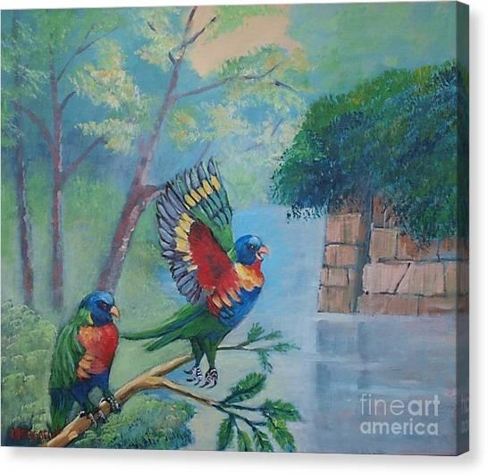 Australian Rainbow Parrots Canvas Print