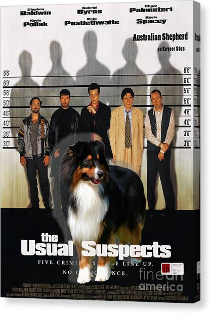 The Usual Suspects Canvas Print - Australian Shepherd Art - The Usual Suspects Movie Poster by Sandra Sij