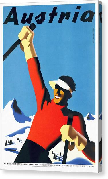 Austria Ski Tourism - Vintage Poster Restored Canvas Print
