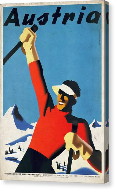 Austria Ski Tourism - Vintage Poster Vintagelized Canvas Print