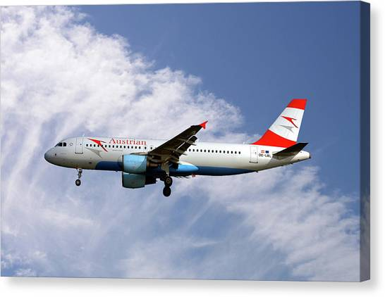 Airlines Canvas Print - Austrian Airlines Airbus A320-214 by Smart Aviation