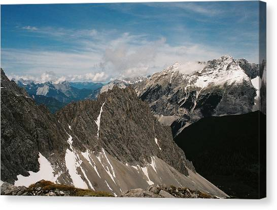 Austrian Alps On A Sunny Day Canvas Print by Patrick Murphy