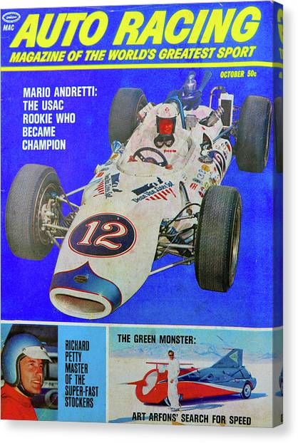 Stock Cars Canvas Print - Auto Racing Mag Oct 1966 by David Lee Thompson