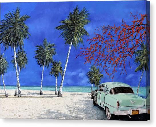 White Sand Canvas Print - Auto Sulla Spiaggia by Guido Borelli