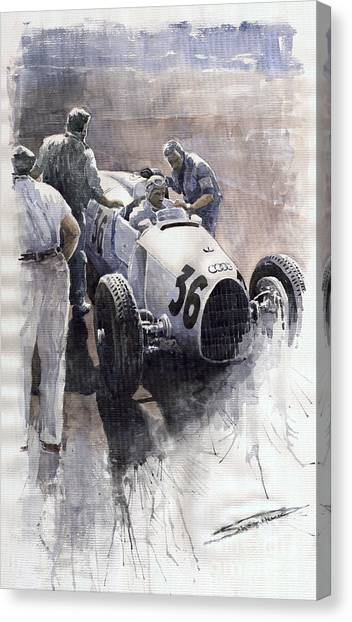 Sports Cars Canvas Print - Auto Union B Type 1935 Italian Gp Monza B Rosermeyer by Yuriy Shevchuk
