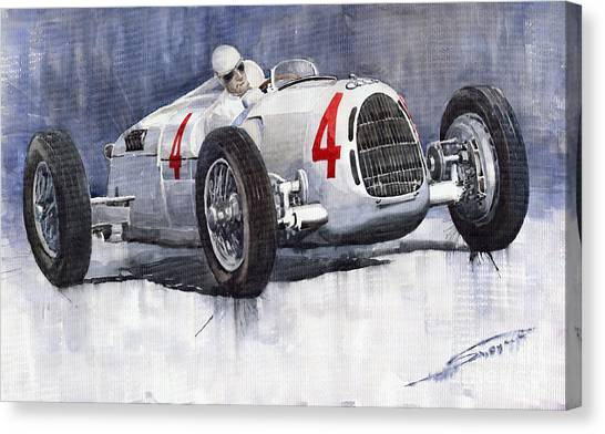 Auto Canvas Print - Auto Union C Type 1937 Monaco Gp Hans Stuck by Yuriy Shevchuk