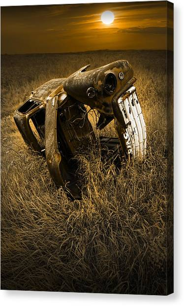 Prairie Sunsets Canvas Print - Auto Wreck In A Grassy Field On The Prairie At Sunset by Randall Nyhof
