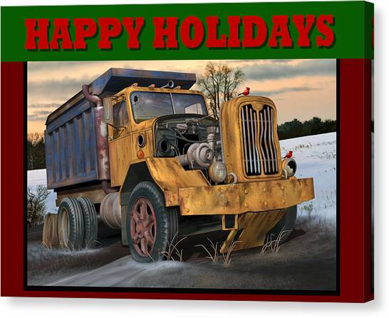 Rusty Truck Canvas Print - Autocar Happy Holidays by Stuart Swartz