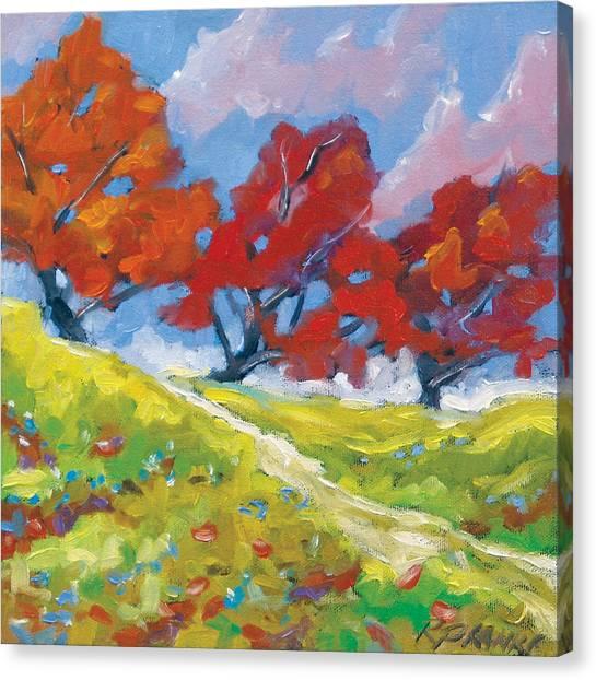 Poppys Canvas Print - Automn Trees by Richard T Pranke