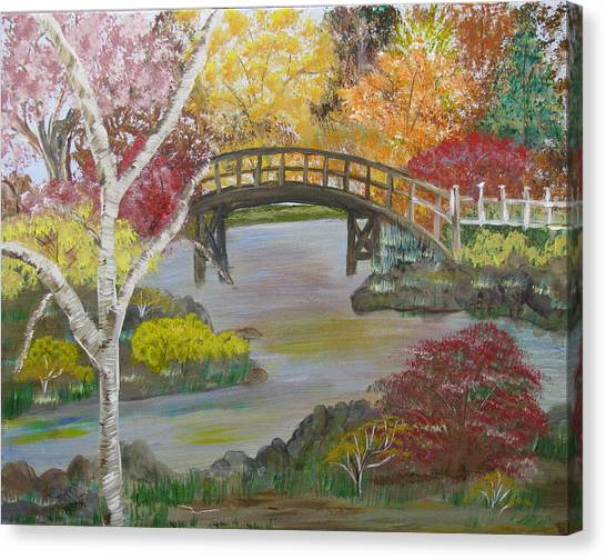 Autum Bridge Canvas Print by Mikki Alhart