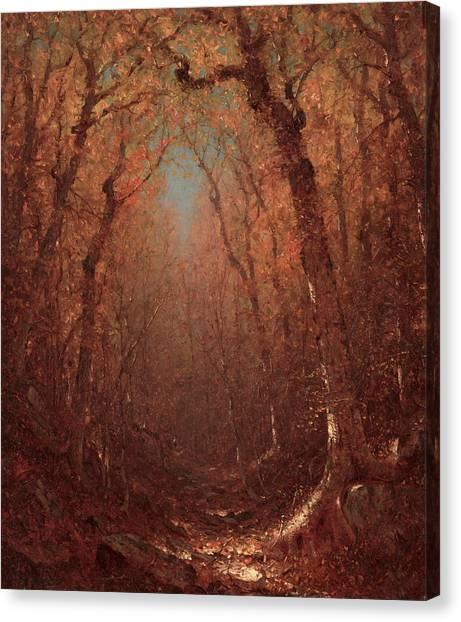 Forest Paths Canvas Print - Autumn, A Wood Path by Sanford Robinson Gifford