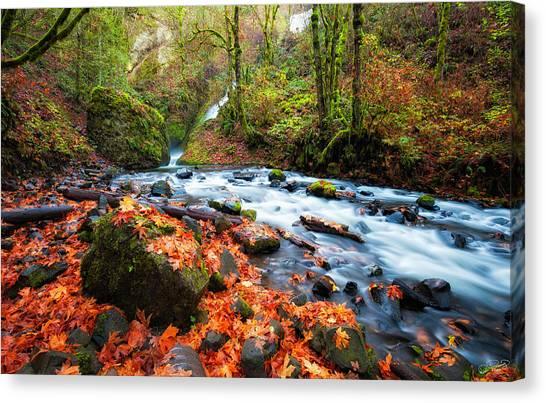 Autumn Along Bridal Veil Canvas Print