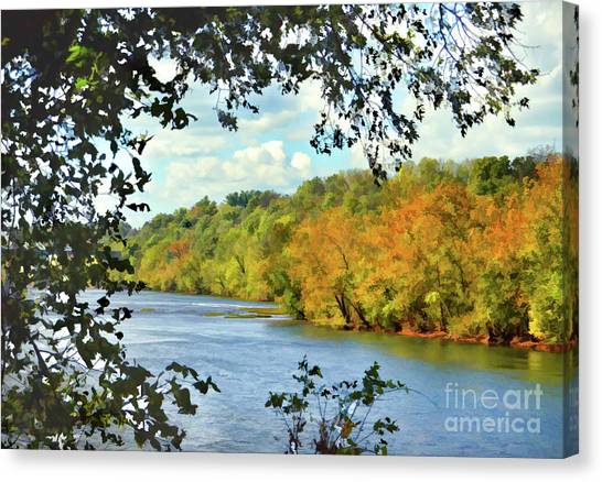 Autumn Along The New River - Bisset Park - Radford Virginia Canvas Print