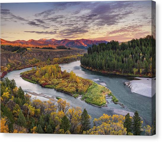 Mountain Sunset Canvas Print - Autumn Along The Snake River by Leland D Howard