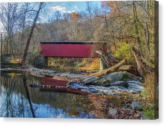 Canvas Print - Autumn Along The Wissahickon Creek -thomas Mill Covered Bridge by Bill Cannon