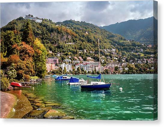 Lake Geneva Canvas Print - Autumn Approaches In Montreux Switzerland  by Carol Japp