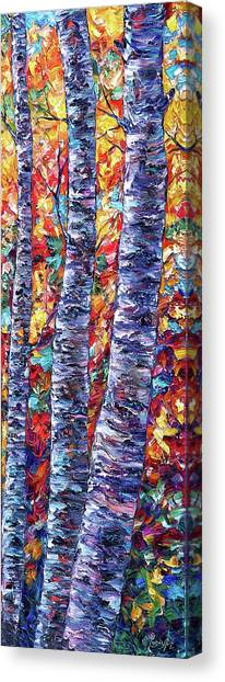 Autumn  Aspen Trees Contemporary Painting  Canvas Print