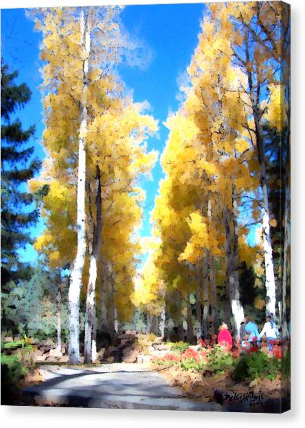 Canvas Print featuring the digital art Autumn Aspens by Deleas Kilgore